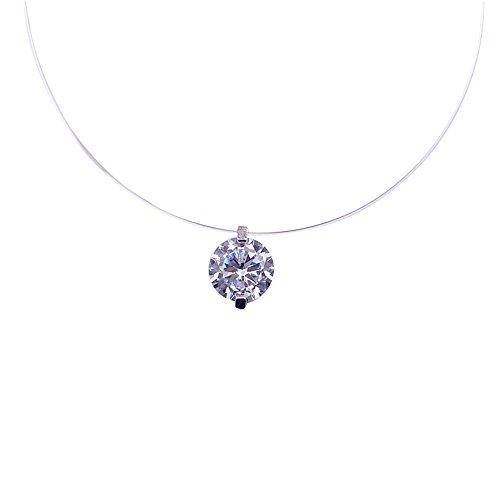 QIYUEQI Ms Halskette S 925 reine Silber Transparent Angelschnur kleine Diamant Halskette Knochen von Fischen Tränen Schlüsselbein Kette Stealth Einzelbohrer