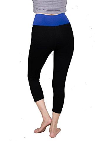 Lofbaz Femmes coton pantalons capri leggings 3/4 genou longueur Yoga Bleu (Thick)
