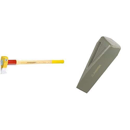 Ochsenkopf OX 635 H-3009 Profi-Holzspalthammer Big Ox® / Hochwertiger Spalthammer mit Hickory-Holzstiel und Rotband-Plus Stielbefestigung & Fundwerk Dreh-Spaltkeil zum Spalten von Kaminholz