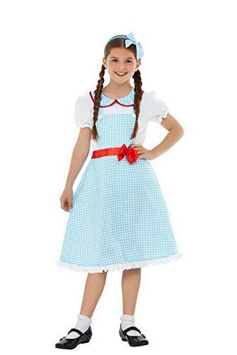 Confettery - Mädchen Kinder Country Girl Farmerin Kostüm mit Kleid und Haarschmuck, perfekt für Karneval, Fasching und Fastnacht, 140-152, ()