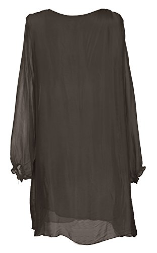 Mesdames Womens Lagenlook italienne bizarre manches longues Rusched cou Rabat avant tunique soie robe taille UK 10-16 Dark Marron