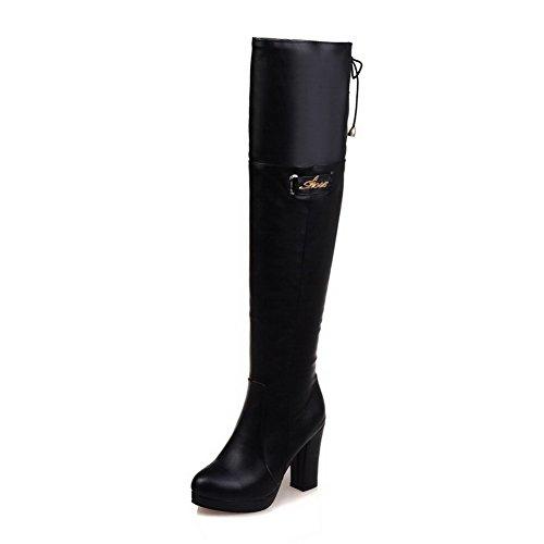VogueZone009 Damen Blend-Materialien Schließen Zehe Hoch-Spitze Stiefel Schwarz-Knoten