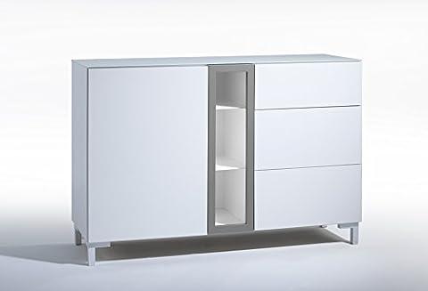 Kommode Sideboard Anrichte Hochglanz Weiß mit Rahmen in Rot Gelb Grau Glasplatte (ST1015grau)