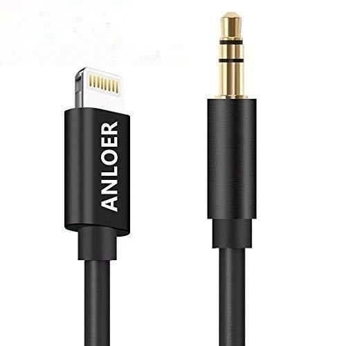 Anloer Aux-Kabel, Premium Stecker auf Stecker, AUX-Audiokabel, kompatibel für iPhone 7/7 Plus/8/X und andere Geräte mit Lightning-Anschluss schwarz (Aux-car-audio-kabel)