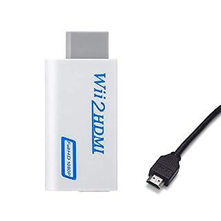 KOBWA Wii zu HDMI Adapter mit HDMI Kable, Wii to HDMI 720/1080P Full HD Konverter Converter Adapter mit 3,5mm Audioausgang für Wii TV Monitor Beamer Fernseher
