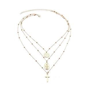 Amcool Damen Religiöse Art Multi Kette Halskette Kreuz Jungfrau Maria Anhänger Halskette (Gold)
