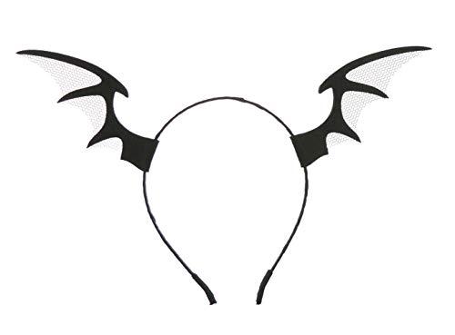 Damen Herren Gothic Steam Punk Deeley Bopper Haarreif, Tüll, Fledermaus-Ohren, Flügel, Schwarz