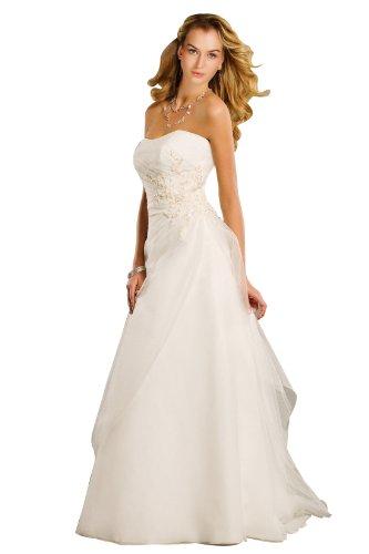WEDDING HOUSE A-linie BRAUTKLEID Hochzeitskleid Organza Trägerlos mit Deckleisten und Applikationen...