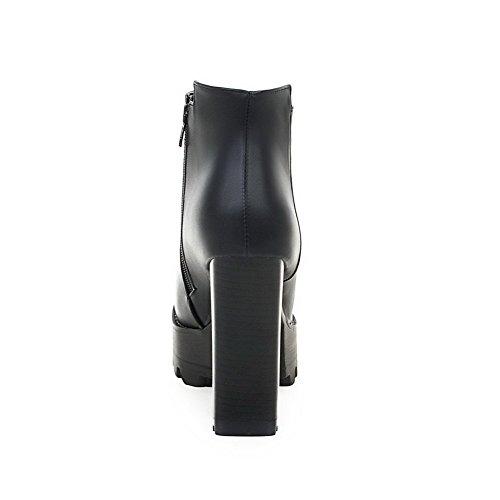 VogueZone009 Donna Cerniera Punta Tonda Tacco Alto Bassa Altezza Stivali con Metallo Nero