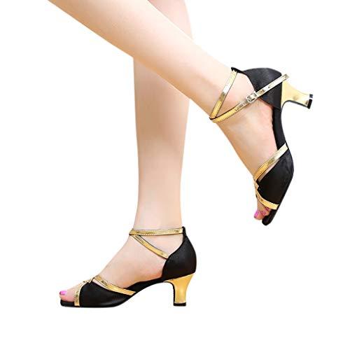 Damen Tanzschuhe mit niedrigem Absatz, Rumba Waltz Ballsaal, Latein Salsa Square Dance Schuhe -