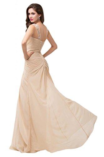 Sunvary in raso per abiti, in Chiffon, con uscita per damigella d'onore Pageant occasioni speciali Bianco
