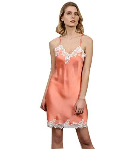 Peignoir Dessous (Damen Seide Sling V-Ausschnitt Versuchung Unterwäsche Negligee Dessous Nacht Kurzes Kleid Nachthemd Nachtwäsche Kleid,Orange,XL)