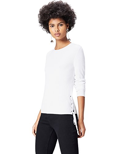 find. Pull Fin Femme, Blanc (White), 40 (Taille Fabricant: Medium)