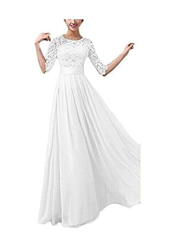Ghope Damen Sommer Chiffon und Spitzen Abendkleid Boho lange Maxi Partei Strand Kleid