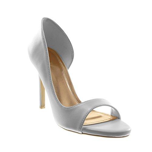 Angkorly Damen Schuhe Pumpe Sandalen - Stiletto - Slip-On - Offen - Modern Stiletto High Heel 10 cm - Weiß 301-58 T 38