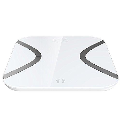 Báscula de Baño   Mini Báscula de Baño con Análisis Corporal de 12 Funciones  Báscula de Baño Control por medio de APP en español y Bluetooth Compatible con Android e iOS  Cristal Blanco