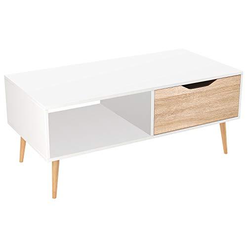 Homfa Table de Salon Scandinave Table Basse Café Bois pour Bureau TV Blanc et Chêne Claire 100x49.5x43cm