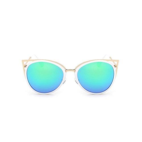 QHGstore Signora Women Nuova UV400 occhiali da sole della struttura del metallo esterna Eyewear degli occhiali verde