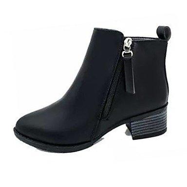 RTRY Scarpe donna pu Comfort estivo stivali blocco tacco Punta stivali Mid-Calf cerniera per il Vestito Nero di Borgogna US7.5 / EU38 / UK5.5 / CN38