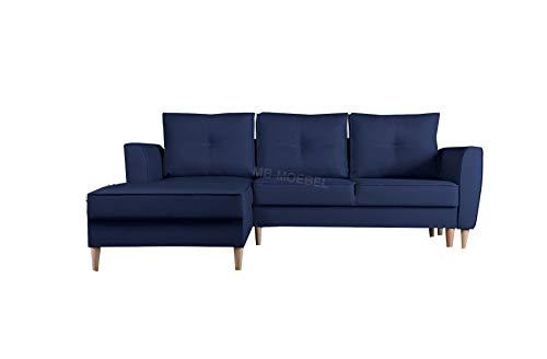 mb-moebel Ecksofa mit Schlaffunktion Eckcouch mit Zwei Bettkasten Sofa Couch Wohnlandschaft L-Form Polsterecke Theo (Malmo 79, Ecksofa Links)