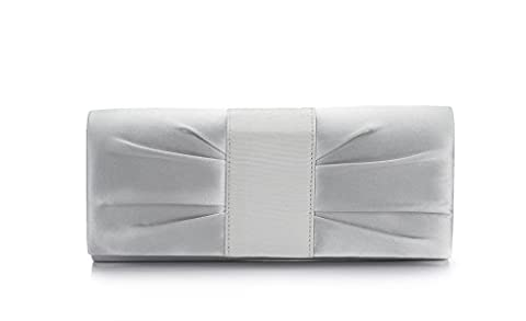 ECOSUSI Women's Evening Clutch Shoulder Bag Ladies Satin Wedding Bag Purse Silver