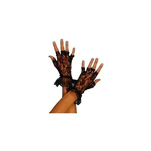 Madonna 1980s Style Black Fingerless Lace Gloves