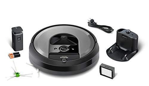 iRobot Roomba Volks-Saugroboter 960 mit starker Saugkraft, zwei Multibodenbürsten, Navigation für mehrere Räume, lädt sich auf und setzt Reinigung fort, Ideal für Tierhaare, App-Steuerung, Dirt Detect