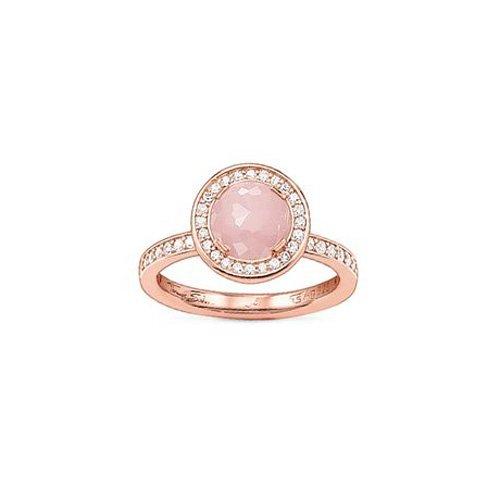 Thomas Sabo Damen-Ring Mondlicht Rosenquarz-Zirk. Solitärring Silber vergoldet Quarz rosa Brillantschliff Zirkonia Gr. 54 (17.2) - TR1971-417-9-54 (Rosa Edelstein Ring)