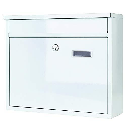 Briefkasten Wandbriefkasten Weiß extra Lackschicht gegen Rost Mailbox Briefkastenanlage Postkasten Stahl Weiß 30x36x10 Montagematerial und 2 Schlüssel inclusive (Weiß 36x30cm) - 2