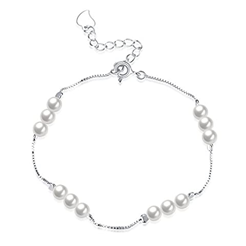 HMILYDYK Women Charm Bracelet Sterling Silver Four Line White Freshwater Cultured Shell Pearls - AAA