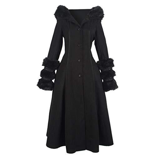 ❤Inawayls❤ Damen Langjacke Warmer Mantel Hoodies Jacke Winter Elegante Wärme Parka, Button-down und Zurück Lace-up,mit Fuzzy Plüschjacke (Daphne Kostüm Schuhe)