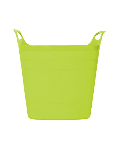 Ondis24 praktischer kompakter Flexi Tub flexibler Tragekorb auch für Flüssigkeiten Gartenkorb Wäschekorb Spielzeugeimer 15 Liter limette
