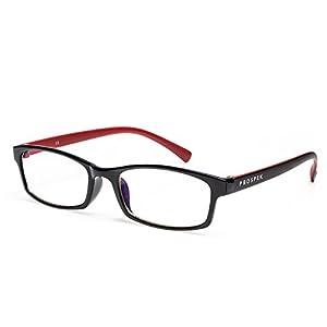 PROSPEK – Hochwertige Computer Brillen – Professional – Blaulicht- und Blendschutz (+0.00 Dioptrien | Rot und Schwarz | Normale Größe)