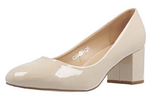FITTERS FOOTWEAR - Sesy - Escarpins Femmes - Beige Vernis Chaussures grandes tailles - Beige, 43 EU