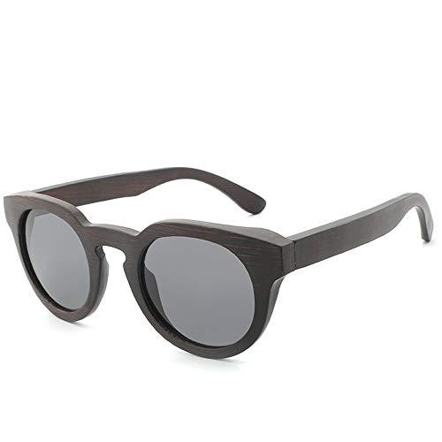 Easy Go Shopping Männer und Frauen runden Rahmen Retro polarisierten beschichteten Sonnenbrillen handgefertigten Bambus Holz Gläser Sonnenbrillen und Flacher Spiegel (Color : Grau, Size : Kostenlos)