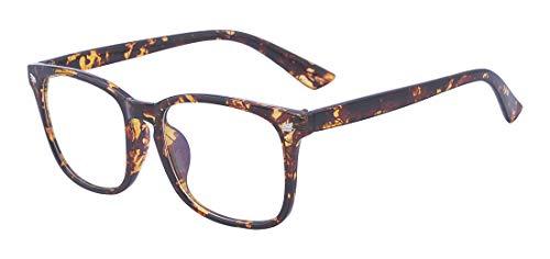 Outray Blaues Licht blockieren Gläser für den Computergebrauch Anti Eyestrain Linse Square Frame Brillen Leopard Print