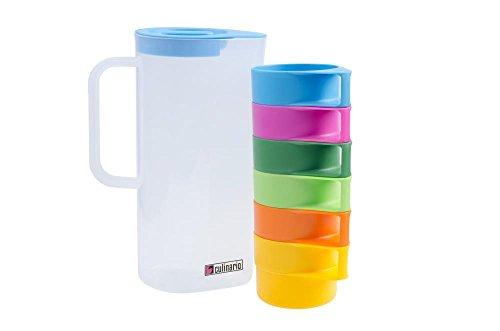 Culinario Partyset, 1,5 Liter Karaffe mit 6 bunten Tassen, ineinander stapelbar, ca. 16,5 x 10 x 24 cm Picknick-party-set