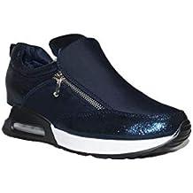 0afbc3c0a37 BENINI SHOES SNEACKER Air CUÑA A6161 Zapatillas Urbanas Mujer Cuña Azul  Plataforma Bambas Casuales Elegantes de