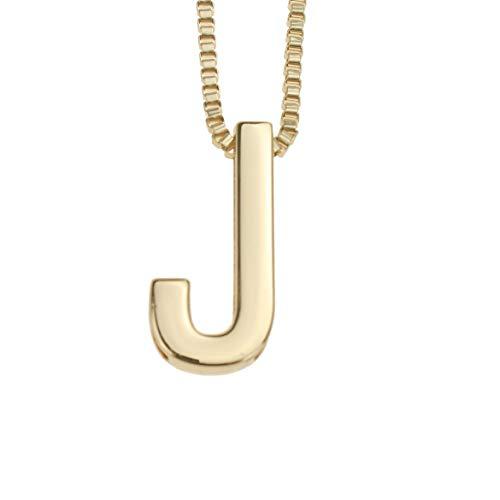 f43ff930b611 Udekit Moda Metal Oro DIY Letra J Nombre Inicial Collar Colgante para Mujer  Hombre Adulto Niño