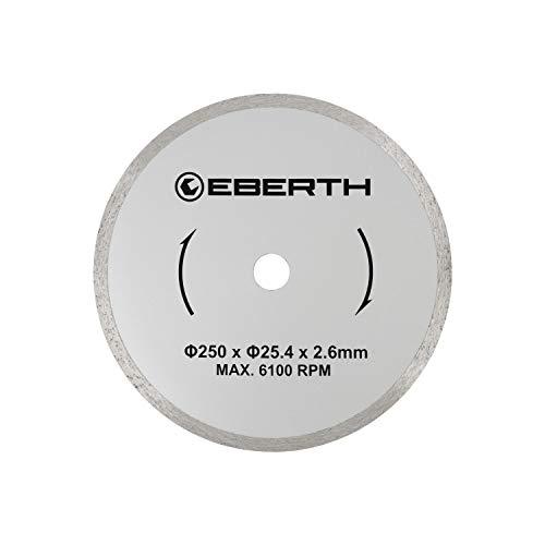 EBERTH Profi Diamanttrennscheibe Diamantscheibe universal Trennscheibe für Nass- und Trockenschnitt (250 mm Durchmesser, Bohrung 25,4 mm, Blattstärke 2,6 mm, U/Min. max. 6100)