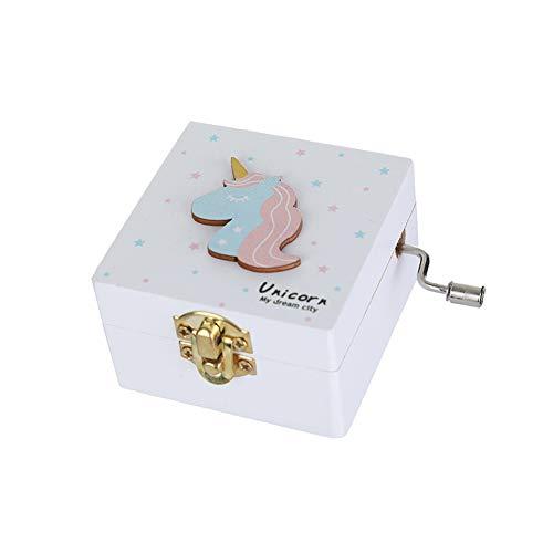 Ruiting Caja Música Unicornio,Caja de Música en forma lindo Regalo para niños cumpleaños Decoración de San Valentín de hogar Blanco