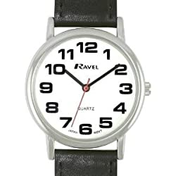 GENTS RAVEL EASY READ WHITE WATCH WITH EXTRA LONG (21cm) BLACK STRAP AND CHROME CASE (R0105.06.1)