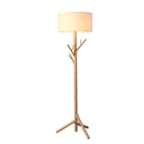 Wohnzimmer Sofa Bell Cover LED Stehleuchte - Vertikale Lampe Office High Pole Lampe, Schlafzimmer - LED-Lampe - Leinen Lampenabdeckung + Massivholzsockel, Massivholz-Baumhänger Stehleuchte - Asche-wohnzimmer-sofa-tisch
