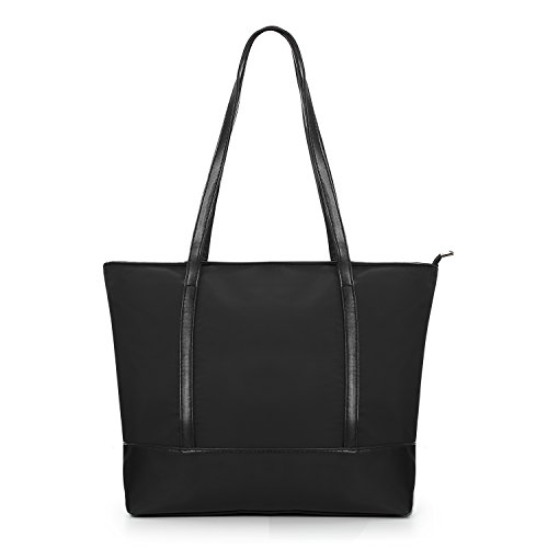 VEVEN Nylon Strandtasche Damen Shopper Einkaufstasche Tragetasche Handtasche Schultertasche Schwarz Schwarz