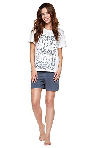 Moonline moderner und bequemer Damen Pyjama/Shorty / Capri Schlafanzug, mit weicher Baumwolle, Creme-Leo, Gr. L (44/46)
