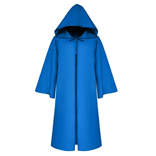 Lion O Kostüm Kind - RYTEJFES Women Men's Vintage Half Sleeve Solid Hooded Bandage Cloak Cosplay Outwear Coat Halloween Faschingskostüme Prom Ballkleid Overalls (Blau, XXL)