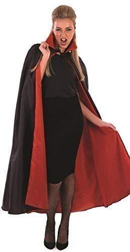 Donna Uomo Halloween Rosso e Nero Dracula Vampiro Mantella Mantello Costume Vestito Accessorio