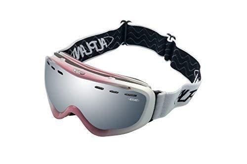 Alpland Frauen, Damen Skibrille Schneebrille Snowboardbrille Glas Silber gespiegelt (Pink/Weiß)