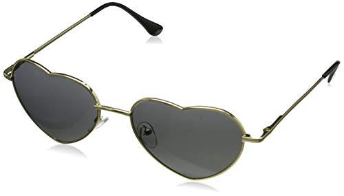 Dollger Herz Sonnenbrille Dünne Metallrahmen Schöne Aviator-Art für Damen(Schwarz Verlaufsgläser+Goldrahmen)