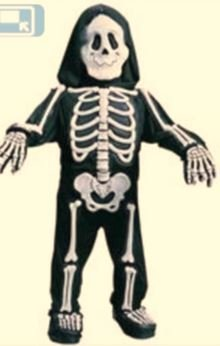 Kostüm Set Kinder 3D Skelett Maske Handschuhe Weiß 4-6 Jahre